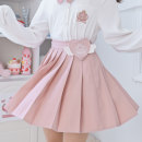 skirt Spring 2021 S,M,L Pink Short skirt Sweet High waist Pleated skirt Solid color Type A 18-24 years old C592b2 91% (inclusive) - 95% (inclusive) other Sennu tribe polyester fiber Embroidery, fold, three-dimensional decoration, zipper, stitching Mori