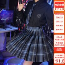 skirt Spring 2021 XS,S,M,L,XL Semiconductor 42cm, semiconductor 45cm, semiconductor 48CM Short skirt Sweet High waist A-line skirt lattice Type A 18-24 years old JK0136 More than 95% other Sennu tribe polyester fiber Pleats, tridimensional decoration, buttons, zippers, stitching Mori