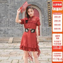 Dress Summer 2021 gules S,M,L Mid length dress singleton  Short sleeve Sweet stand collar High waist other Single row two buttons A-line skirt other Others 18-24 years old Type A Sennu tribe More than 95% other polyester fiber Mori