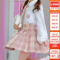 skirt Summer 2020 XS,S,M,L,XL Short skirt Sweet High waist A-line skirt lattice Type A 18-24 years old JK105 More than 95% other Sennu tribe polyester fiber Zipper, stitching Mori