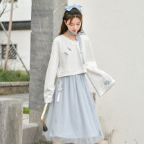 Fashion suit Spring 2021 S,M,L White, blue 18-25 years old Sennu tribe Q1031a2 96% and above cotton