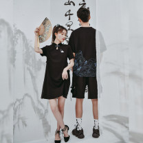 Dress Summer 2020 Black long, black short XS,S,M,L,XL Mid length dress singleton  Short sleeve Sweet stand collar Loose waist scenery A button A-line skirt routine 18-24 years old Type A Sennu tribe Tassel, embroidery, Auricularia auricula, stitching, three-dimensional decoration, buttons M109a2 Mori