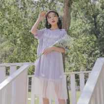 Dress Summer 2020 violet S,M,L Mid length dress Two piece set Short sleeve Sweet Crew neck Loose waist Animal design Socket A-line skirt routine Others 18-24 years old Type A Sennu tribe Bowknot, embroidery, Auricularia auricula, lace, splicing, three-dimensional decoration, gauze, printing Y1368