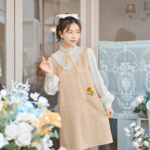 Dress Spring 2021 yellow S,M,L Mid length dress Fake two pieces Long sleeves Sweet stand collar Loose waist lattice Socket other shirt sleeve Others 18-24 years old Type H Sennu tribe Bowknot, embroidery, pocket, lace, stitching, tridimensional decoration, button, lace C518 More than 95% other Mori