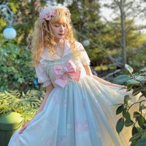 Dress Summer 2021 White, light green S,M,L Mid length dress Two piece set Long sleeves Sweet High waist Cartoon animation zipper A-line skirt camisole 18-24 years old Type A Sennu tribe bow , Embroidery , fungus , Splicing , Three dimensional decoration , Button , printing MA315a4 Mori