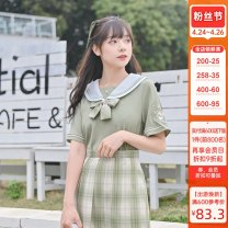 shirt green S,M,L Summer 2021 polyester fiber 96% and above Short sleeve Sweet Regular Admiral Socket routine other 18-24 years old Straight cylinder Sennu tribe X1399c4 Tassel, embroidery, three-dimensional decoration college