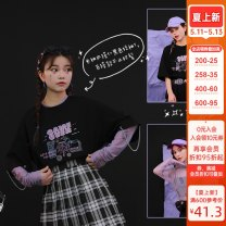 T-shirt S,M,L Summer 2020 elbow sleeve Crew neck easy Regular routine Sweet cotton 86% (inclusive) -95% (inclusive) 18-24 years old science fiction Cartoon animation Sennu tribe Mori