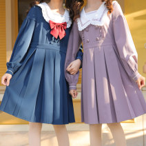 Dress Autumn 2020 Blue, purple XS,S,M,L,XL Mid length dress singleton  Long sleeves Sweet Admiral Loose waist Cartoon animation Single row two buttons A-line skirt routine Others 18-24 years old Type A Sennu tribe 91% (inclusive) - 95% (inclusive) other polyester fiber Mori