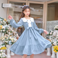 Dress Spring 2021 blue S,M,L Mid length dress singleton  Long sleeves Sweet Admiral High waist other zipper other routine Others 18-24 years old Type A Sennu tribe Bowknot, embroidery, fold, lace, stitching, three-dimensional decoration, buttons C583 More than 95% other polyester fiber Mori
