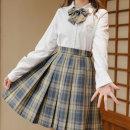 skirt Autumn 2020 XS,S,M,L,XL Short skirt Versatile High waist A-line skirt lattice Type A 18-24 years old More than 95% other Sennu tribe polyester fiber Fold, pocket, tridimensional decoration, zipper, stitching