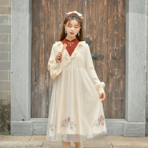 Dress Winter 2020 Apricot S,M,L Mid length dress singleton  Long sleeves Sweet stand collar High waist scenery A button A-line skirt routine Others 18-24 years old Type X Sennu tribe Embroidery, fold, Auricularia auricula, stitching, three-dimensional decoration, bandage, button, mesh, zipper Y1670b2