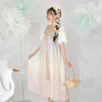 Dress Summer 2020 Picture color S,M,L Mid length dress singleton  Short sleeve Sweet One word collar Loose waist scenery Socket A-line skirt Flying sleeve Others 18-24 years old Type A Sennu tribe Bowknot, embroidery, fold, splicing, three-dimensional decoration, gauze net X1403 other polyester fiber