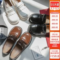 Low top shoes 34,35,36,37,38,39,40 Sennu tribe Round head PU Square heel Low heel (1-3cm) Shallow mouth PU Summer 2021 Trochanter Sweet Adhesive shoes Youth (18-40 years old) Solid color Single shoes Shallow mouth, metal decoration PU daily Face dressing