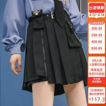skirt Autumn 2020 XS,S,M,L,XL black Short skirt Versatile High waist Pleated skirt Cartoon animation Type A 18-24 years old MA108 More than 95% Sennu tribe polyester fiber Embroidery, chain, fold, pocket, tridimensional decoration, button, stitching