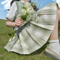 skirt Summer 2021 XS,S,M,L,XL Short skirt Sweet High waist Pleated skirt lattice Type A 18-24 years old JK233 More than 95% other Sennu tribe polyester fiber Fold, button, zipper Mori