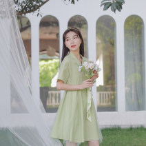 Dress Summer 2020 green S,M,L Mid length dress singleton  Short sleeve Sweet tailored collar High waist other double-breasted A-line skirt routine Others 18-24 years old Type X Sennu tribe Embroidery, stitching, buttons, mesh More than 95% other polyester fiber Mori