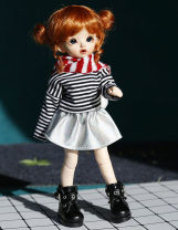 BJD doll zone suit 1/6 Over 6 years old goods in stock 6 points red wool scarf, 6 points striped long sleeve clothes + laser skirt, 6 points zipper boots