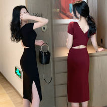 Dress Spring 2021 Black, maroon XS,S,M,L,XL,2XL Middle-skirt singleton  Short sleeve commute Crew neck middle-waisted Solid color Socket One pace skirt routine 18-24 years old Type H Korean version modal