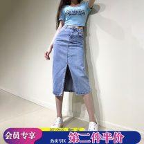skirt Summer 2021 S,M,L,XL blue Mid length dress Versatile High waist Denim skirt Solid color Type H Denim X-mier cotton Pocket, make old