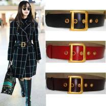 Belt / belt / chain Double skin leather female belt Versatile Single loop Youth, youth, middle age Pin buckle Geometric pattern Glossy surface 5.5cm copper 95cm,100cm,105cm