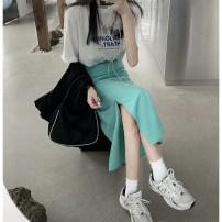 skirt Spring 2021 Average size White T-shirt 618-1, green skirt 618 Mid length dress commute High waist Solid color 18-24 years old Korean version