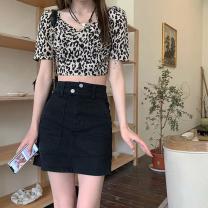 skirt Summer 2021 S,M,L Leopard print top 11095, black skirt 9086 Short skirt commute High waist Solid color Type A 18-24 years old 11095#9086 Korean version