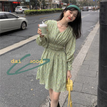 Dress Summer 2021 Green, orange Average size Middle-skirt singleton  Long sleeves commute V-neck High waist Socket 18-24 years old Korean version 6511-1#