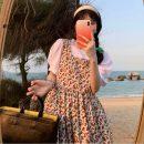 Fashion suit Summer 2021 Average size White T-shirt, black T-shirt, dark blue strap skirt, apricot strap skirt 18-25 years old 6531#