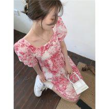 Dress Summer 2021 Pink Average size Middle-skirt singleton  Short sleeve commute square neck puff sleeve 18-24 years old Retro
