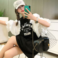 T-shirt Summer 2021 Long sleeve Crew neck easy Medium and long term routine commute cotton 71% (inclusive) - 85% (inclusive) 25-29 years old letter youth Black, white M,L