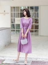Dress Summer 2021 S,M,L,XL Mid length dress singleton  Short sleeve commute Crew neck middle-waisted Solid color Socket other Korean version other