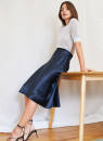 skirt Summer 2021 0,2,4,6,8,10,00 Champagne, dark blue, cream yellow, clay Mid length dress gorgeous Natural waist A-line skirt Solid color Type A More than 95% Cellulose acetate