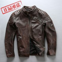 leather clothing AVFLY Fashion City Black, dark brown M,L,XL,2XL,3XL have cash less than that is registered in the accounts Leather clothes stand collar Slim fit zipper autumn leisure time youth top layer leather tide Cloth hem Side seam pocket Multiple pockets No iron treatment Animal pattern
