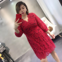 Women's large Spring 2021, summer 2021 Jujube + skin color lining, jujube + black lining Big XL, big XXL, big XXXL, big L, big M, big 4XL Dress Two piece set commute Self cultivation moderate Conjoined three quarter sleeve Solid color Korean version V-neck Cotton, others Three dimensional cutting