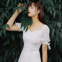 Dress Summer of 2019 white S,M,L Middle-skirt singleton  Short sleeve commute square neck High waist zipper A-line skirt routine 25-29 years old Type A Annie Chen literature Splicing Diamond leader lace up dress ydx9316 other other