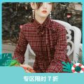 Dress Winter 2020 Purplish red S,M,L Mid length dress singleton  Long sleeves commute stand collar High waist lattice other Big swing shirt sleeve Others 25-29 years old Type X Annie Chen Retro Side neck lace up high waist Plaid Dress yad0718 other