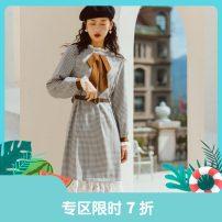 Dress Winter 2020 S,M,L Mid length dress singleton  Long sleeves commute Crew neck High waist lattice Socket Ruffle Skirt pagoda sleeve Others 25-29 years old Type X Annie Chen Retro