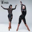Latin dance practice set black Tian Hui female S,M,L,XL TH-0199 Long sleeves Rumba, Chacha, samba, cowboy, bullfight