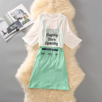 Dress Summer of 2019 Yellow, blue, green S,M,L,XL Mid length dress Two piece set Short sleeve Sweet Crew neck Elastic waist letter Socket Princess Dress Princess sleeve straps 18-24 years old Type H Conomey Lace up, stitching, printing 71% (inclusive) - 80% (inclusive) other polyester fiber princess