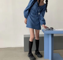Dress Autumn 2020 Niuzi blue S, M Long sleeves Sweet V-neck Solid color A-line skirt bishop sleeve Type A Denim cotton