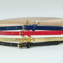 Belt / belt / chain Snake skin Red, gold, black, violet, cyan, light green, crystal blue, beige female belt Versatile Single loop Youth, youth, middle age Pin buckle Round buckle Glossy surface 0.9cm alloy alone Tiao Tiao Niu Thin belt 02 104cm,99cm,94cm
