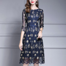 Dress Autumn of 2019 navy blue M,L,XL,2XL,3XL,4XL Mid length dress singleton  three quarter sleeve commute Crew neck middle-waisted Solid color zipper A-line skirt 30-34 years old Ink and wash Ol style J060