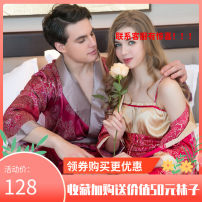 Pajamas / housewear set lovers Yan qinger M,L,XL,XXL,XXXL Red man, red woman, purple man, purple woman Polyester (polyester) Long sleeves Leisure home Thin money Small lapel Plants and flowers Tether youth one-piece garment rubber string More than 95% printing Middle-skirt