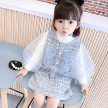 suit Other / other Blue, khaki, pink, thousand bird check black, thousand bird check purple, little fragrant dress 80cm,90cm,100cm,110cm,120cm,130cm female spring and autumn Korean version Long sleeve + skirt routine There are models in the real shooting Socket nothing other Cotton blended fabric