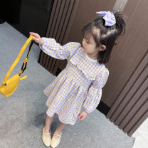 Dress violet female Other / other 90cm,100cm,110cm,120cm,130cm Other 100% spring and autumn college Long sleeves other Cotton blended fabric other Purple lattice baby dress c012z-5 other Chinese Mainland