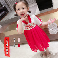 Tang costume 100,110,120,130,90 Other 100% female summer There are models in the real shooting routine Other / other Cotton blended fabric Little bee skirt 18 months, 2 years old, 3 years old, 4 years old, 5 years old, 6 years old, 7 years old, 8 years old