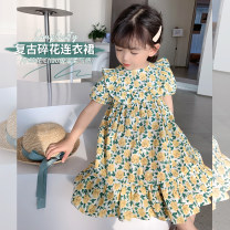 Dress yellow female Little elephant Size 80 is about 80C, Size 90 is about 90cm (model size, size 100 is about 100C, Size 110 is about 110C, Size 120 is about 120c, Size 130 is about 130c, size 140 is about 140C, size 150 is about 150C) Cotton 95% other 5% spring and autumn Versatile Short sleeve