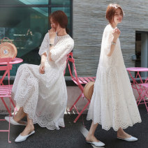 Dress Summer 2020 white S (belt and skirt), m (belt and skirt), l (belt and skirt), XL (belt and skirt) longuette Two piece set Short sleeve commute Crew neck Loose waist Solid color Socket Big swing Petal sleeve Type A Korean version Gouhua, hollow out, button, lace PS9216 More than 95% cotton
