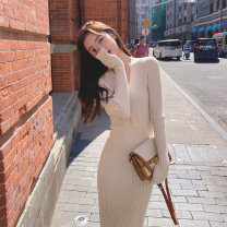Dress Autumn 2020 Black, apricot S,M,L Mid length dress singleton  Long sleeves commute V-neck Solid color Socket Retro