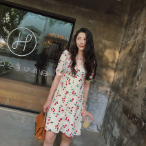 Dress Summer 2020 Cherry skirt S,M,L Mid length dress singleton  Short sleeve commute V-neck High waist other A button A-line skirt other Others 25-29 years old Type A Other / other Korean version F366 More than 95% Chiffon other